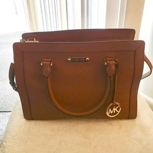 Michael Kors Collins Luggage Lg Leather Satchel